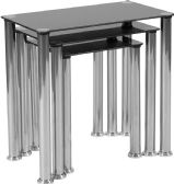 Riverside Collection Black Glass Nesting Tables with Stainless Steel Legs - Sofa