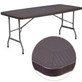 32.5''W x 67.5''L Brown Rattan Plastic Folding Table - Banquet and Event