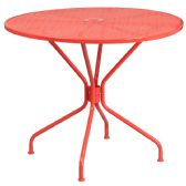 35.25'' Round Coral Indoor-Outdoor Steel Patio Table - Dining