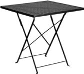28'' Square Black Indoor-Outdoor Steel Folding Patio Table - Dining