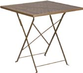 28'' Square Gold Indoor-Outdoor Steel Folding Patio Table - Dining