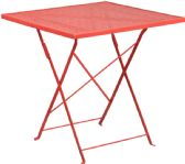 28'' Square Coral Indoor-Outdoor Steel Folding Patio Table - Dining