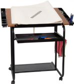 Adjustable Drawing and Drafting Table with Black Frame and Dual Wheel Casters - Drafting