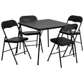 5 Piece Black Folding Card Table and Chair Set - Game