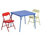 Kids Colorful 3 Piece Folding Table and Chair Set - Game