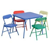 Kids Colorful 5 Piece Folding Table and Chair Set - Game