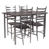 Manhattan 5 Piece Black Wood Grain Finish Dinette Set with Chairs - Sets