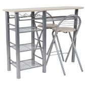 Carnegie 3 Piece Space-Saver Natural Finish Bistro Set with Wine Rack, Shelving and Folding Chairs - Sets