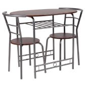 Soho 3 Piece Space-Saver Mahogany Finish Bistro Table with Shelf and Chairs - Sets