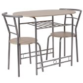 Soho 3 Piece Space-Saver Natural Finish Bistro Table with Shelf and Chairs - Sets