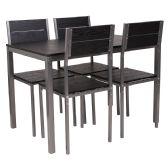 Castleton 5 Piece Black Finish Dinette Set with Chairs - Sets