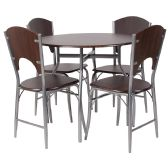 Hudson 5 Piece Walnut Finish Dinette Set with Chairs - Sets