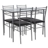 Murray Hill 5 Piece Glass Dinette Set with Black Vinyl Padded Chairs - Sets