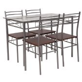 Murray Hill 5 Piece Glass Dinette Set with Walnut Wood Grain Chairs - Sets