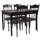 Madison Square 5 Piece Dinette Set with Walnut Finish and Black Pin Dot Padded Fabric Chairs - Sets