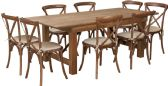 HERCULES Series 7' x 40'' Antique Rustic Folding Farm Table Set with 8 Cross Back Chairs and Cushions - Sets