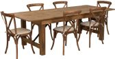 HERCULES Series 8' x 40'' Antique Rustic Folding Farm Table Set with 6 Cross Back Chairs and Cushions - Sets