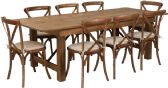 HERCULES Series 8' x 40'' Antique Rustic Folding Farm Table Set with 8 Cross Back Chairs and Cushions - Sets