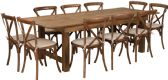 HERCULES Series 8' x 40'' Antique Rustic Folding Farm Table Set with 10 Cross Back Chairs and Cushions - Sets