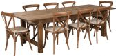 HERCULES Series 9' x 40'' Antique Rustic Folding Farm Table Set with 8 Cross Back Chairs and Cushions - Sets