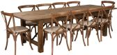 HERCULES Series 9' x 40'' Antique Rustic Folding Farm Table Set with 10 Cross Back Chairs and Cushions - Sets