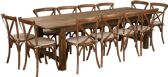 HERCULES Series 9' x 40'' Antique Rustic Folding Farm Table Set with 12 Cross Back Chairs and Cushions - Sets