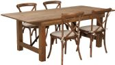 HERCULES Series 7' x 40'' Antique Rustic Folding Farm Table Set with 4 Cross Back Chairs and Cushions - Sets