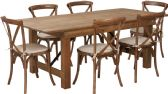 HERCULES Series 7' x 40'' Antique Rustic Folding Farm Table Set with 6 Cross Back Chairs and Cushions - Sets