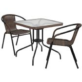 28'' Square Glass Metal Table with Dark Brown Rattan Edging and 2 Dark Brown Rattan Stack Chairs - Sets