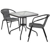 28'' Square Glass Metal Table with Gray Rattan Edging and 2 Gray Rattan Stack Chairs - Sets