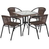 28'' Square Glass Metal Table with Dark Brown Rattan Edging and 4 Dark Brown Rattan Stack Chairs - Sets