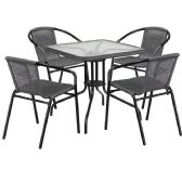 28'' Square Glass Metal Table with Gray Rattan Edging and 4 Gray Rattan Stack Chairs - Sets