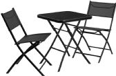 23.75'' Square Tempered Glass Metal Outdoor Table Set with 2 Textilene Fabric Folding Chairs - Sets