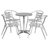 23.5'' Round Aluminum Indoor-Outdoor Table Set with 4 Slat Back Chairs - Sets