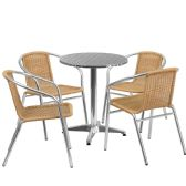 23.5'' Round Aluminum Indoor-Outdoor Table Set with 4 Beige Rattan Chairs - Sets