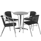 23.5'' Round Aluminum Indoor-Outdoor Table Set with 4 Black Rattan Chairs - Sets