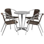 23.5'' Round Aluminum Indoor-Outdoor Table Set with 4 Dark Brown Rattan Chairs - Sets