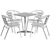 23.5'' Square Aluminum Indoor-Outdoor Table Set with 4 Slat Back Chairs - Sets