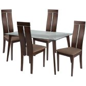 Ridgecrest 5 Piece Espresso Wood Dining Table Set with Glass Top and Clean Line Wood Dining Chairs - Padded Seats - Sets