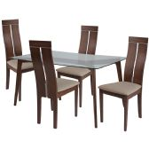 Ridgecrest 5 Piece Walnut Wood Dining Table Set with Glass Top and Clean Line Wood Dining Chairs - Padded Seats - Sets