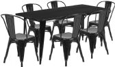 31.5'' x 63'' Rectangular Black Metal Indoor-Outdoor Table Set with 6 Stack Chairs - Sets