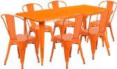 31.5'' x 63'' Rectangular Orange Metal Indoor-Outdoor Table Set with 6 Stack Chairs - Sets