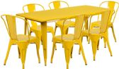 31.5'' x 63'' Rectangular Yellow Metal Indoor-Outdoor Table Set with 6 Stack Chairs - Sets