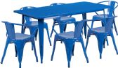 31.5'' x 63'' Rectangular Blue Metal Indoor-Outdoor Table Set with 6 Arm Chairs - Sets