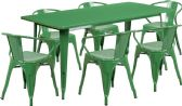 31.5'' x 63'' Rectangular Green Metal Indoor-Outdoor Table Set with 6 Arm Chairs - Sets