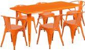 31.5'' x 63'' Rectangular Orange Metal Indoor-Outdoor Table Set with 6 Arm Chairs - Sets