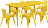 31.5'' x 63'' Rectangular Yellow Metal Indoor-Outdoor Table Set with 6 Arm Chairs - Sets