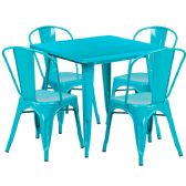 31.5'' Square Crystal Teal-Blue Metal Indoor-Outdoor Table Set with 4 Stack Chairs - Sets