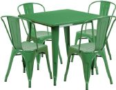 31.5'' Square Green Metal Indoor-Outdoor Table Set with 4 Stack Chairs - Sets