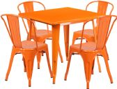 31.5'' Square Orange Metal Indoor-Outdoor Table Set with 4 Stack Chairs - Sets